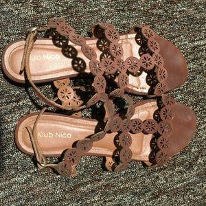 Shoes - Brown Cutout Lace Up Sandals